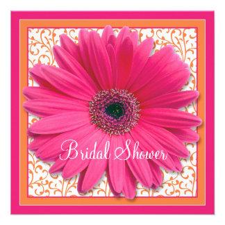 Pink Orange Gerbera Daisy Bridal Shower Invitation