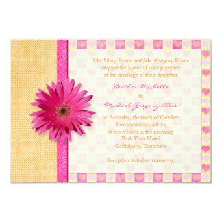Pink Orange Gerbera Daisy Wedding Invitation