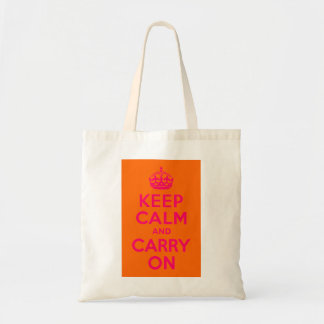 Pink Orange Keep Calm and Carry On Tote Bag