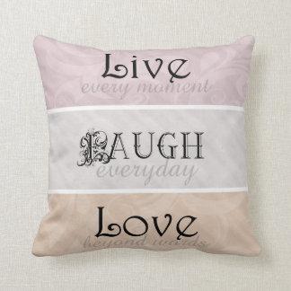 Pink & Orange Live Laugh Love Throw Cushion