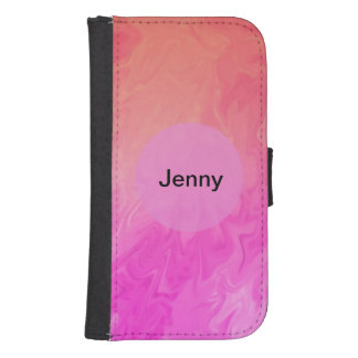Pink orange marble texture samsung s4 wallet case