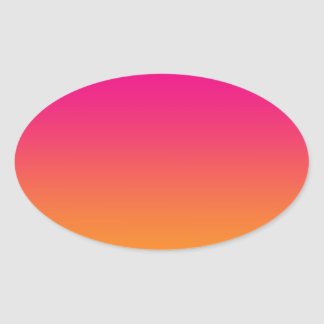 Pink & Orange Ombre Oval Sticker