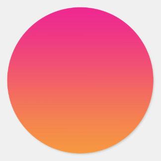 Pink & Orange Ombre Round Stickers