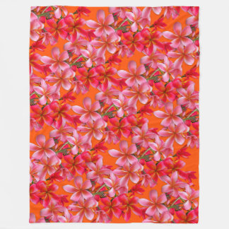 Pink Orange Plumeria Tropical Floral Design Fleece Blanket
