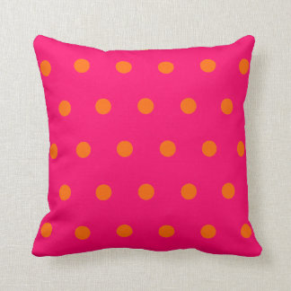 Pink Orange Polka Dots Throw Pillow