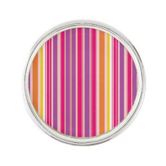 Pink Orange Purple Colorful Girly Stripe Pattern Lapel Pin