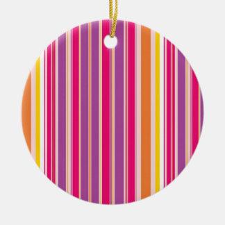 Pink Orange Purple Colorful Girly Stripe Pattern Round Ceramic Decoration