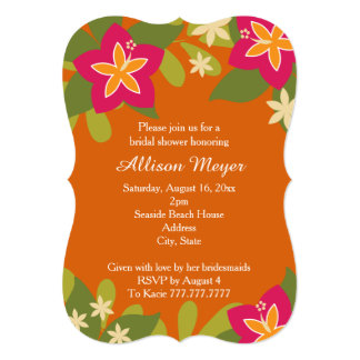 Pink Orange Tropical Hibiscus Flower Bridal Shower 13 Cm X 18 Cm Invitation Card