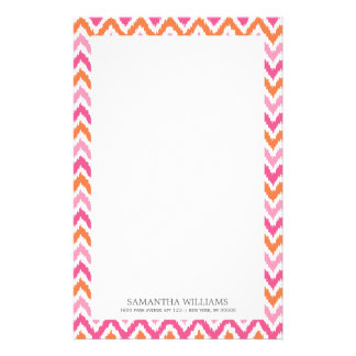 Pink Orange Zigzag Ikat Pattern Stationery