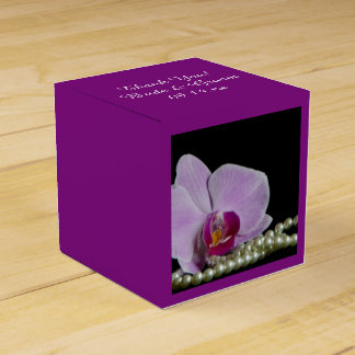 Pink Orchid and Pearls on Black Wedding Favour Box