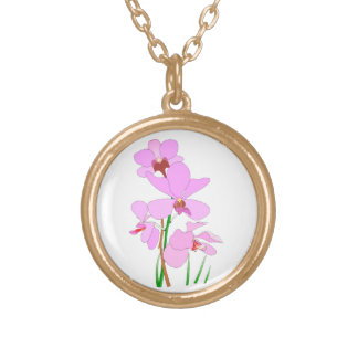 Pink Orchid Flowers Gold Plated Necklace