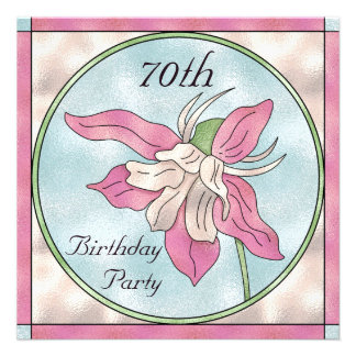 Pink Orchid Stain Glass Effect 70th Birthday Custom Invitations
