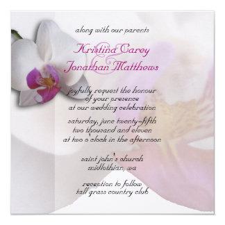 Pink Orchid Wedding Invitation 5.25x5.25