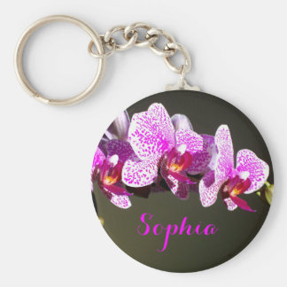 Pink Orchids -monogram Key Ring