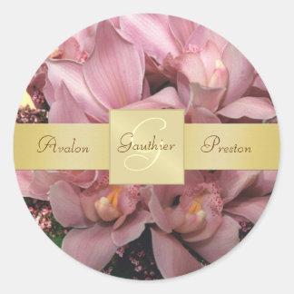 Pink Orchids Monogram Wedding Sticker