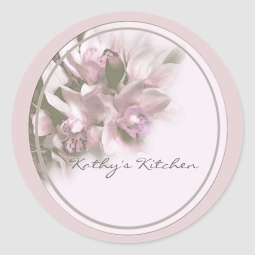 Pink orchids spice jar labels. round stickers