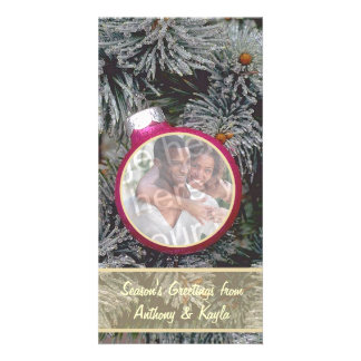 Pink Ornament Nesting In Tree Photo Holiday Card Customized Photo Card