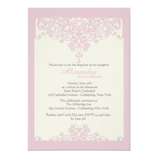 Pink Ornamental Religious Invitation
