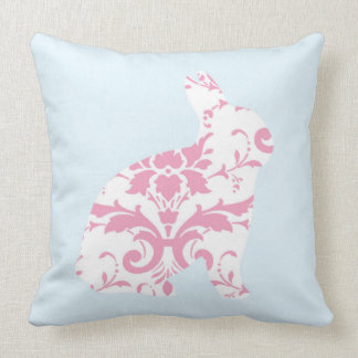 Pink ornaments bunny silhouette throw pillow