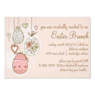 Pink Ornate Easter Eggs Easter Brunch Invitation