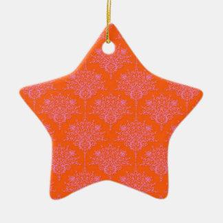 Pink over Orange Floral Damask Ceramic Star Decoration