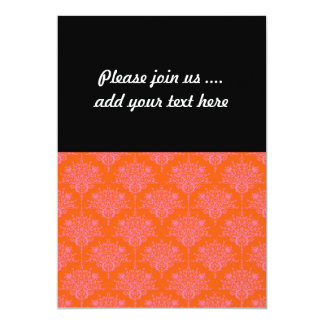 Pink over Orange Floral Damask 5x7 Paper Invitation Card