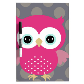 Pink Owl Dry Erase Board