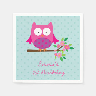 Pink Owl on a Branch Personalized Napkins Paper Serviettes