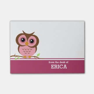 Pink Owl Personalised Post-it® Notes