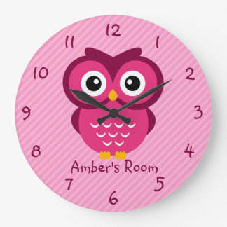 Pink Owl Personalized Kids Bedroom Clock