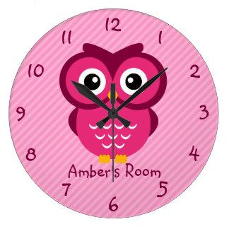 Pink Owl Personalized Kids Bedroom Clocks