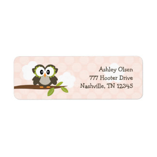 Pink Owl Return Address Labels Custom