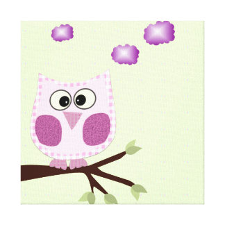 Pink Owl Wall Art Canvas for Baby Girl Canvas Print