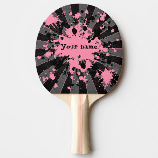 Pink paint splatters black and gray personalized ping pong paddle