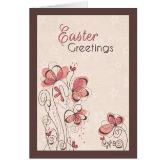 Pink Painted Floral Design with Flower Background Card
