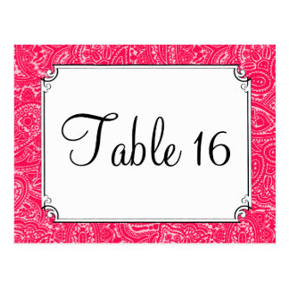 Pink Paisley Wedding Reception Table Numbers Post Card