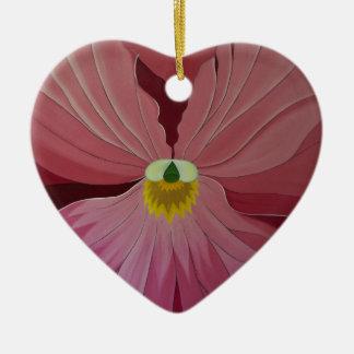 Pink Pansi Ceramic Heart Decoration