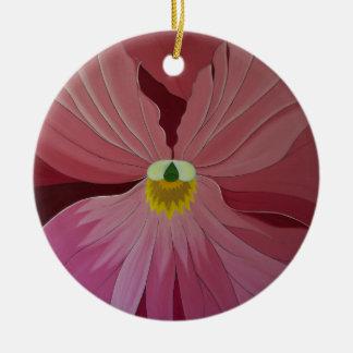 Pink Pansi Round Ceramic Decoration