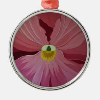 Pink Pansi Silver-Colored Round Decoration