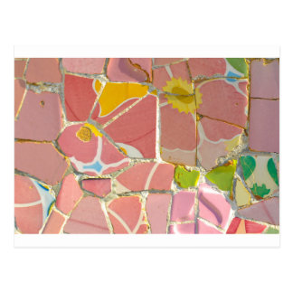 Pink Parc Guell Tiles in Barcelona Spain Postcard