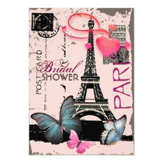 pink paris eiffel tower destination bridal shower card