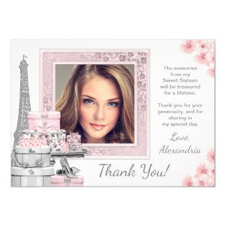 Pink Paris Sweet 16 Thank You Cards 11 Cm X 16 Cm Invitation Card