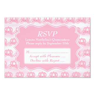 Pink Pastel Carriages Quinceanera Card