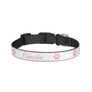 Pink Paw print Dog Collar