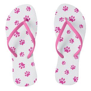 Pink Paw Prints Pattern Jandals