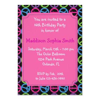 Pink  Peace Birthday Invites