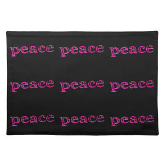 pink peace black placemat