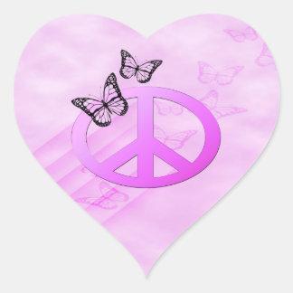 Pink Peace Heart Sticker