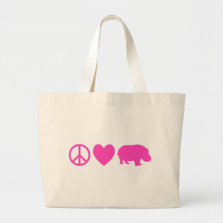 Pink Peace Love and Hippos Large Tote Bag