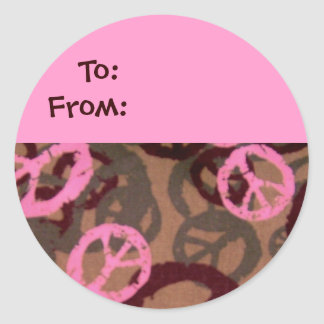 Pink Peace Signs Gift Tag-Sticker